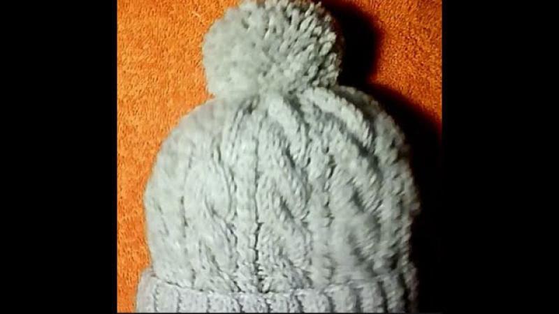♥♥♥Шапка жгутами спицами шапка с бубоном♥♥♥.Часть 1.Мастер класс вязание спицами.Женская шапка » Freewka.com - Смотреть онлайн в хорощем качестве