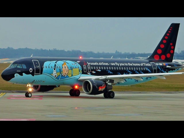 [FullHD] *AMAZING LIVERY* Brussels Tintin Airbus A320 landing takeoff at GenevaGVALSGG