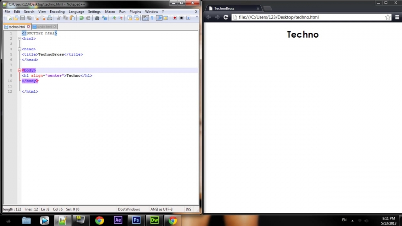 Создание простого сайта в HTML NOTEPAD