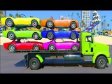 Color cars transportation with spiderman and superheroes cartoon for kids