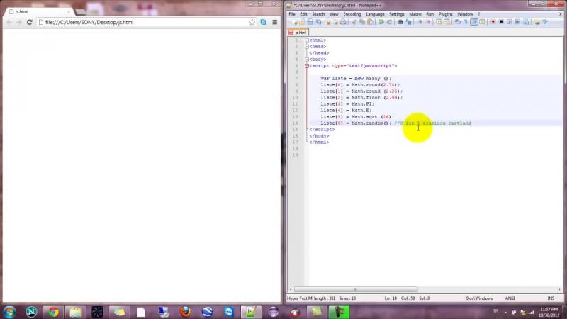 Yakın Kampüs - Javascript Ders 22 - Javascript Math Objesi (min max random sqrt floor round PI E)