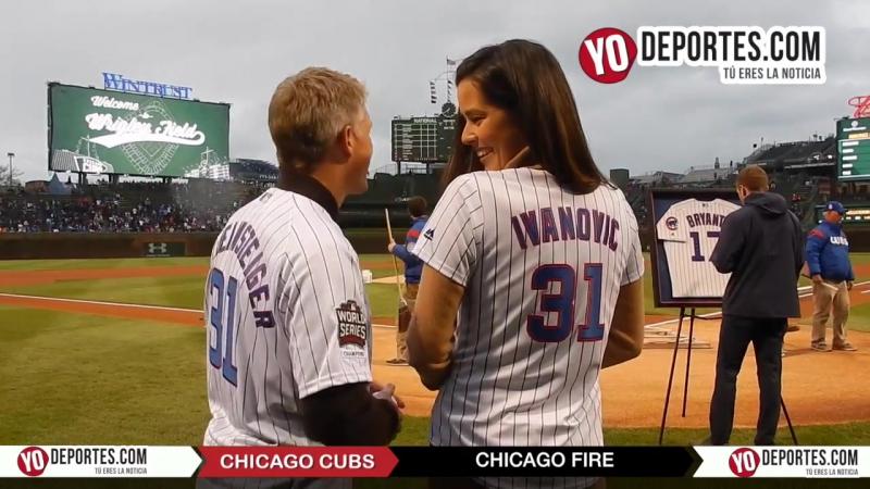 Ana Ivanovic Bastian Schweinsteiger Juninho Dax McCarty Drew Conner at Chicago Cubs Wrigley Field