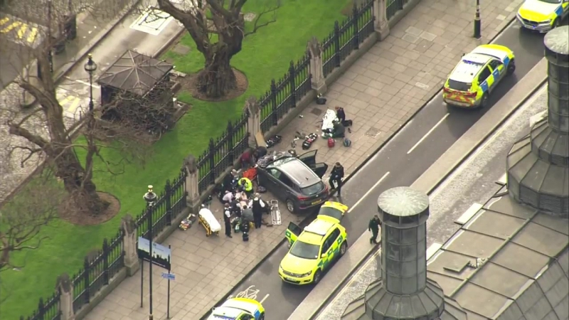 Westminster shooting_ Aerials of car veered off road near Parliament