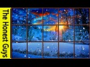 WINTER WINDOW SNOW SCENE 4K Living Wallpaper with Ambient Fireplace Sounds
