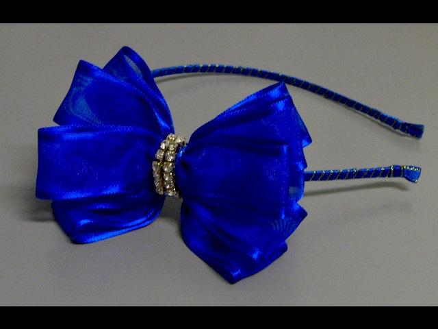 Laço de fita de organza com 3 camadas- How to make a bow tie