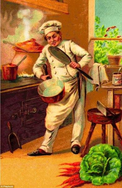 На ретро-иллюстрации изображен шеф-повар, пытающийся приготовить еду, но...