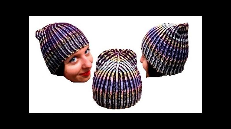 Женская шапка в технике Бриошь спицами. Часть 2 Brioche Stitch Women's hats knitting