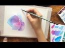Акварель для начинающих, гортензии быстрая зарисовка