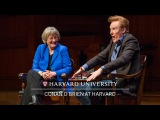 Conan OBrien in conversation with Harvard University President Drew Faust