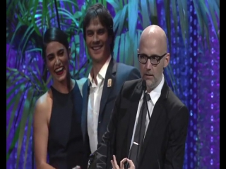 Ian Somerhalder and Nikki Reed presenting Moby at EMA Awards