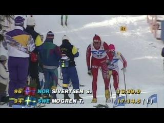 Bjorn Daehlie vs Sture Sivertsen Men's 10km at World Championship 1993 Falun (HD)