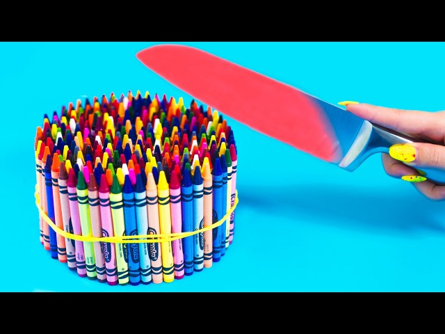 EXPERIMENT Glowing 1000 degree KNIFE VS 20 OBJECTS Crayons Orbeez School Supplies Toys SATISFYING