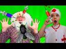Играем в доктора с уколами Разноцветный укол в попу Дед заболел сломал нос Битва...