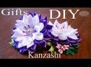 Канзаши - Цветок. Красивая резиночка для волос. Рукоделие. МК. DIY. Hand Made. Art. Kanzashi.