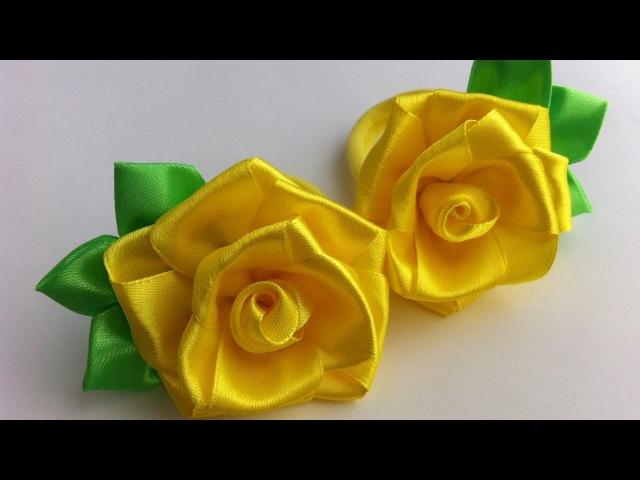 Украшение на резинку Канзаши / Желтые розочки