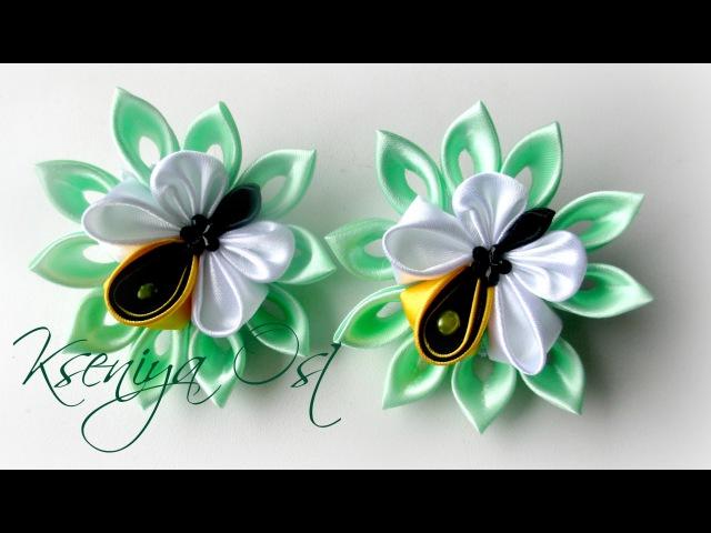 Пчелки - резинки для волос канзаши. Своими руками из атласных лент.