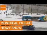Slow-Mo Pile-up On Montreal's Snowy Streets (Storyful, Crazy)