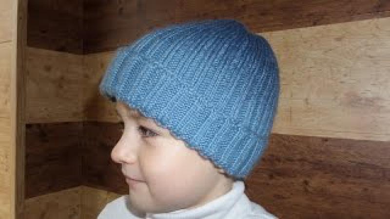 Шапка с градиентом на ребенка. Шапка бини или с отворотом. Урок 1 Вязание спицами.