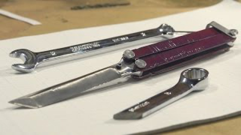How to Make a Balisong / Butterfly knife from a Wrench (NO FORGE METHOD)