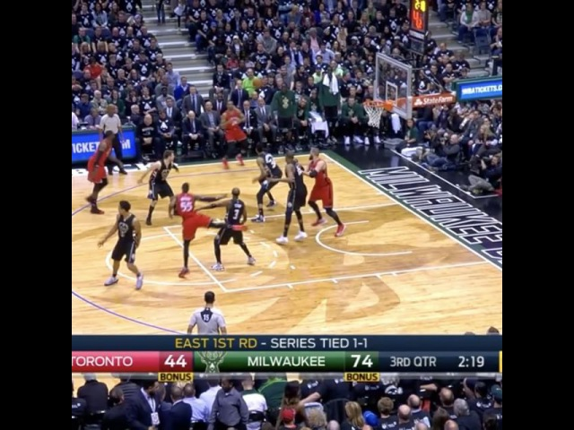 GIANNIS BLOCKING SHOTS WITH HIS ELBOW.