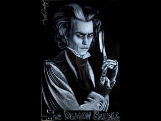 Художественный портрет на черной бумаге. Демон-парикмахер (Джонни Депп). Художник Annet_Portret