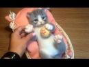 Реалистичный котенок Сухое валяние из натуральной шерсти