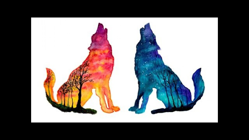 Day Night Wolves - Double Exposure Speed Painting [Watercolor Gouache]