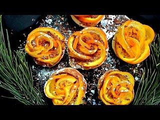 Цветы из апельсина. Украшения из фруктов. Как красиво нарезать апельсин.  Decorations of fruits
