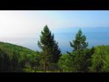 Озеро Байкал из окна поезда ранним утром