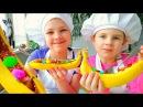 Сладкие радости с Настей и Ксюшей ШОКОЛАДНО БАНАНОВЫЙ Взрыв Видео рецепты детям