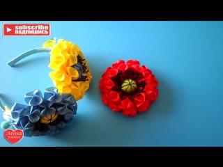 Мак с Рюшами. Праздничный Ободок - Poppy ruched. Holiday Headband