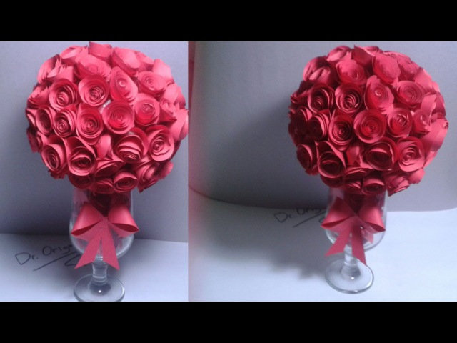 |DIY| How To Make a Paper Rose Topiary-rose ball-Room Decor