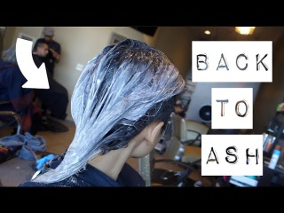 BACK TO NEUTRAL | ASH GREY HAIR TRANSFORMATION | FROM GREEN