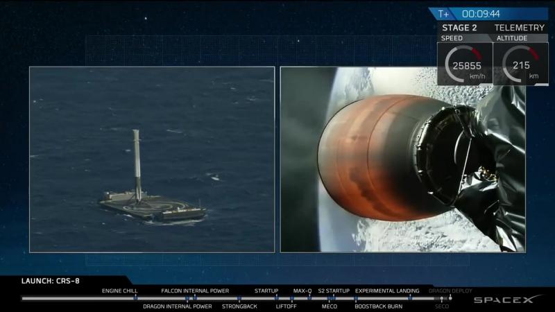 CRS-8 _ Launch and Landing Falcon 9 _ Запуск и Посадка Falcon 9