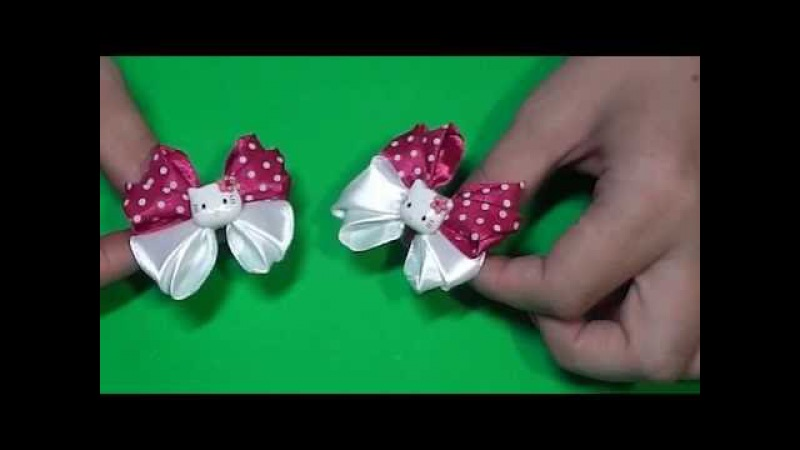 DIY Бантики Hello Kitty для малышекBow Hello Kitty for small girl