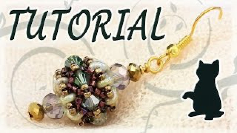 Beading tutorial Superduo beads and Swarovski bicones and cats