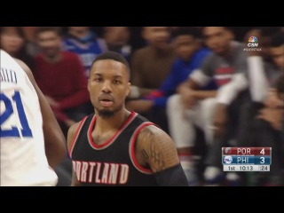 Damian Lillard Scores 16 Pts in 1st Qtr | Blazers vs Sixers | January 20, 2017 | 2016-17 NBA Season
