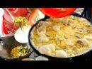 Laos Street Food - Crispy mussel pancake, Shrimp Fried rice and Seafood-Pork stir fry Sukiyaki