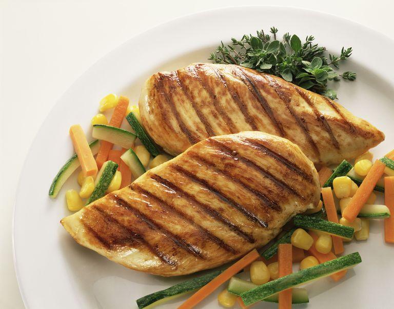 Жареная курица на овощах