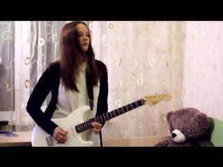 Аллочка жарит на гитаре. Jimi Hendrix - Purple Haze (гитарный cover)