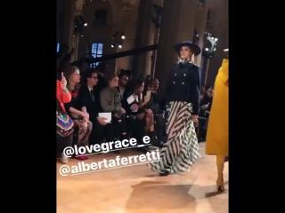 Grace Elizabeth walks the runway at the Alberta Ferretti F/W 2017 fashion show during Milan Fashion Week.