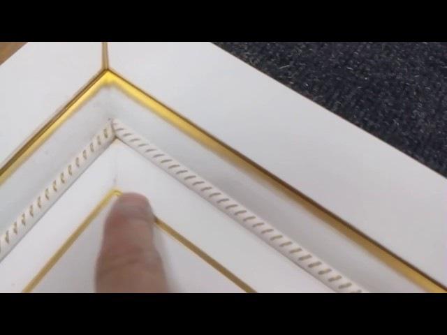 Нанесение золотой патины Renner на крашеный МДФ фасад с последующим лакированием.