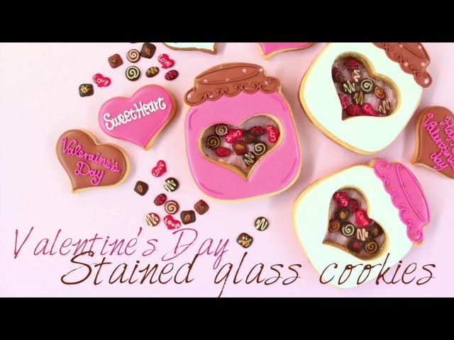 【 Valentine's day Stained glass cookies 】バレンタインのアイシングクッキー