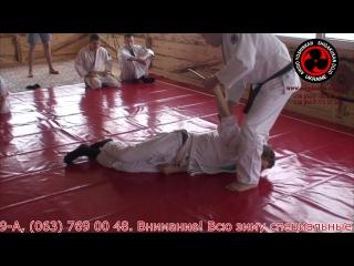 Айкидо Йошинкан. Работа против угрозы ножом (подстановка к животу)