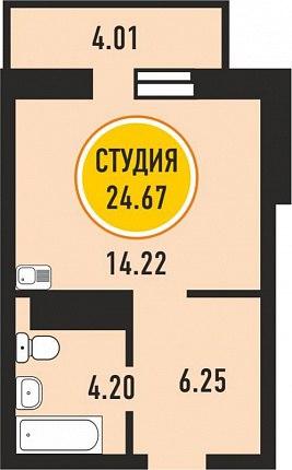 Проект студии почти 25 м от компании-застройщика Меридиан, Тобольск.