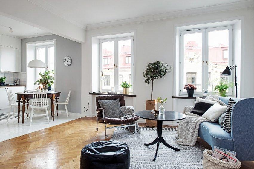 Интерьер квартиры-студии 45 м в Швеции.