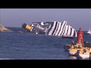 Круизный лайнер тонет у берегов Италии. Съемки ЧП с вертолета