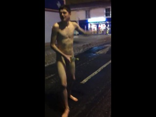 Teenage boy does a naked dash in the snow.