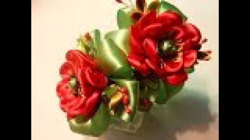 Канзаши. Цветок мака на резиночки.МК / DIY Kanzashi. Poppy flower 9