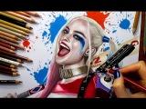 Speed Drawing Harley Quinn - Margot Robbie in Suicide Squad  Jasmina Susak #drawing